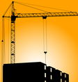 Silhouette of crane on a sunset on a building vector image vector image