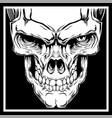 skull hand drawingshirt designs biker disk jockey vector image