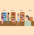 supermarket people choosing and buying products vector image vector image
