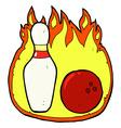ten pin bowling comic cartoon symbol with fire vector image vector image