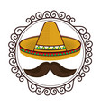 vintage border with hat and moustache mexican vector image vector image