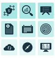 work icons set with planning board contract vector image