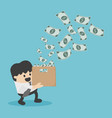 young business man happy with money coming in vector image vector image
