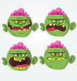 zombie head scary cartoon emotion flat icons vector image vector image