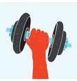 Dumbbell and hand vector image