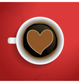 Valentines heart in coffee cup vector image