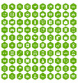 100 telephone icons hexagon green vector image vector image