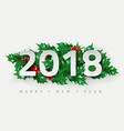 2018 happy new year numbers cut from paper vector image