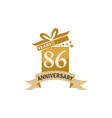 86 years gift box ribbon anniversary vector image vector image