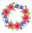 a wreath red poppies and daisies hand drawing vector image vector image