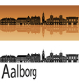 Aalborg skyline in orange vector image vector image