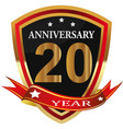 anniversary 20th label with ribbon vector image vector image
