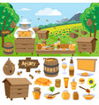 apiary farm honey making icons vector image