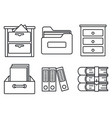 archive library icons set outline style vector image vector image