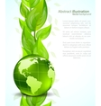 Background with globe end leaves vector image vector image