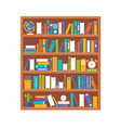 book shelf and stationary flat design back to vector image