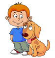 Boy and puppy cartoon vector image