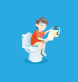 boy using toilet bowl vector image