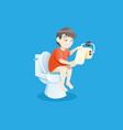 boy using toilet bowl vector image vector image