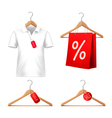 Clothes sale set with hangers and price tags vector image vector image