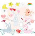 cute rabbit cartoon baby shower theme vector image vector image
