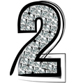 Diamond Font number 2 vector image