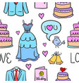 doodle of wedding collection design vector image vector image