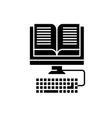 e-book reading black icon sign on isolated vector image vector image