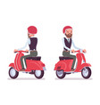 handsome male office employee riding a red scooter vector image