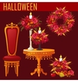 Holiday card for Halloween on red background vector image