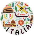 italy symbols cities set vector image