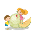 kids and vegetable fruit vector image vector image