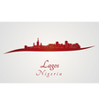 Lagos skyline in red vector image vector image