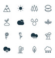 Landscape icons set with tree leaf raindrop cold