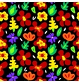 large colorful flowers on black seamless pattern vector image vector image