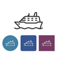 line icon of ship in different variants vector image vector image