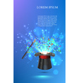 Magician Top hat with fireworks from confetti vector image vector image