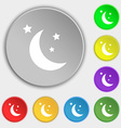 moon icon sign Symbol on eight flat buttons vector image