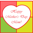 Mothers Day greeting card - with heart vector image vector image