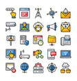 network and communication icons pack vector image vector image