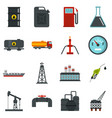 oil industry items set flat icons vector image vector image