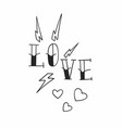old school tattoo love design with hearts and vector image
