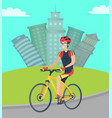 person riding bike in city cityscape with building vector image vector image
