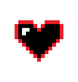 pixel heart icon red and black vector image vector image