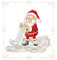 Santa Claus Reading Big Presents Wishlist vector image vector image