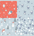 set of new year seamless patterns vector image
