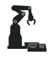 silhouette robotic production line mechanic vector image