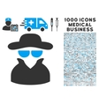 Spy Icon with 1000 Medical Business Pictograms vector image vector image