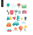 summer lettering with vacation elements vector image