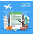 Travel insurance form concept